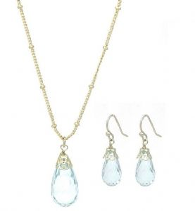 Gold-tone Contemporary Sky Blue Crystal Drop Earrings & Necklace Set